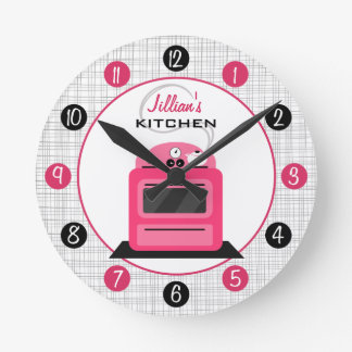 Retro Hot Pink Stove Personalized Kitchen Clock
