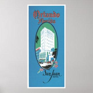 Retro Hotel Orlando Florida Travel Ad Art Print Po