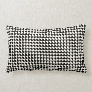 Retro Houndstooth Pattern Black and Cream Lumbar Cushion