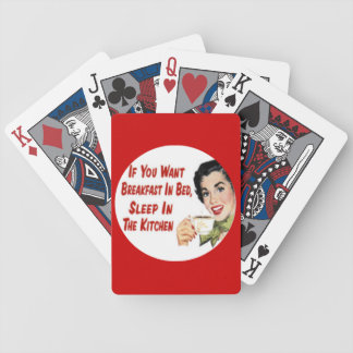 Retro Housewife Breakfast in Bed Playing Cards
