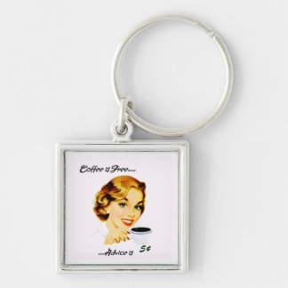 Retro Housewife Coffee and Advice Silver-Colored Square Key Ring