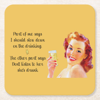 Retro Housewife Funny Quote Drinking Coaster Square Paper Coaster