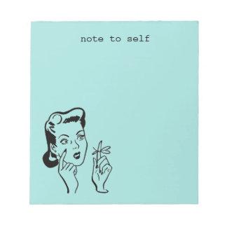 Retro Housewife Note to Self Vintage Aqua Memo Pad