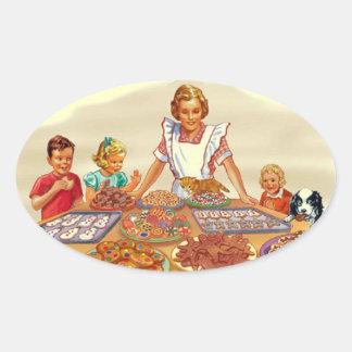 Retro Housewife Oval Sticker