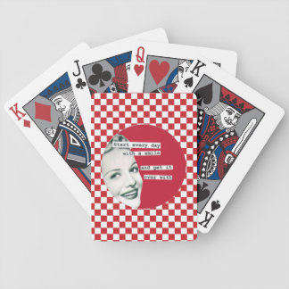 """Retro Housewife """"Start the Day with a Smile"""" Cards Deck Of Cards"""