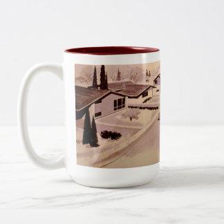 Retro Housing Architecture Mug - Maroon/Beige