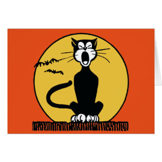 Retro Howling Halloween Cat and Moon Greeting Card