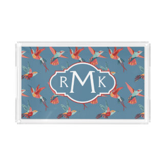 Retro Hummingbird Pattern | Monogram