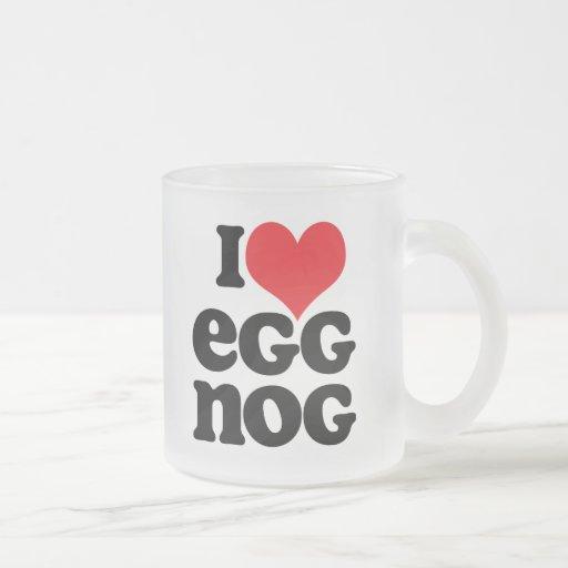 Retro I Love Eggnog Frosted Glass Mug