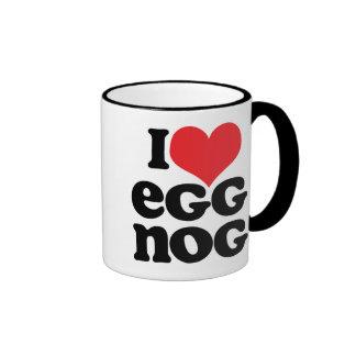 Retro I Love Eggnog Ringer Mug