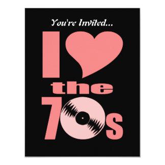 Retro I Love the 70s | 70's Party Vinyl Record Card