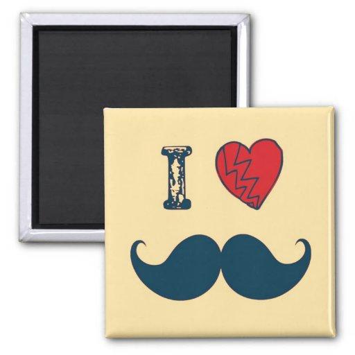 Retro I Love the Mustache Moustache Magnet