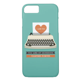 Retro I Love You Heart Typewriter iPhone 7 case
