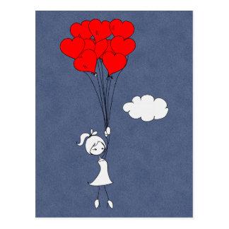 Retro I Love You Valentine's Day Hearts Postcard