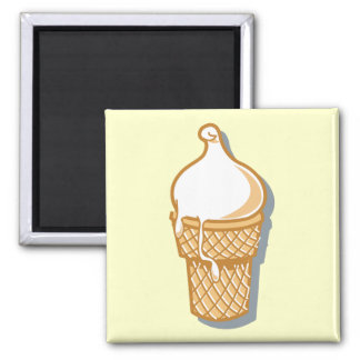 retro ice cream cone square magnet