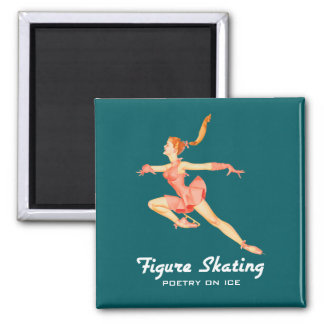 Retro Image of A Figure Skater In A Pink Outfit Square Magnet