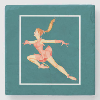 Retro Image of A Figure Skater In A Pink Outfit Stone Coaster