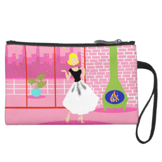 Retro In the Pink Sueded Mini Clutch Wristlet