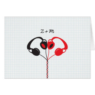 Retro Indie Headphones Heart Wedding Red and Black Card