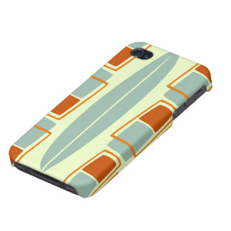 Retro Inspired 1950s Tiki Surfboard iPhone 4 Case