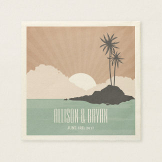 Retro Inspired Island Beach Wedding Napkins Paper Serviettes