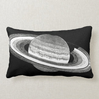 Retro Inspired Monochrome Planet Saturn Space Lumbar Cushion