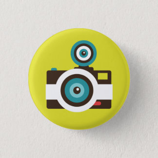 Retro Instant Camera (White / Brown) Flair Button