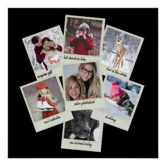 Retro Instant Film Frames Photo Collage Poster