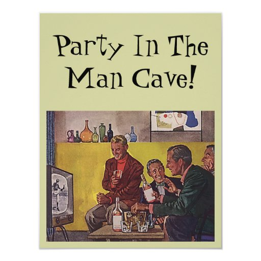 Man Cave Gifts Nz : Retro invitation to host party man cave theme zazzle