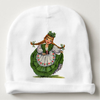 Retro Irish Doll dancer with plaits take a bow Baby Beanie