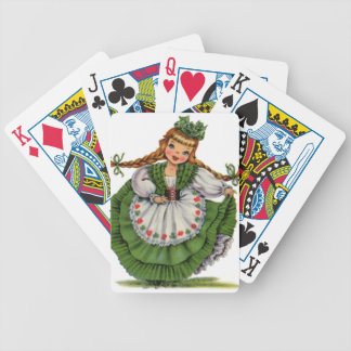 Retro Irish Doll dancer with plaits take a bow Bicycle Playing Cards