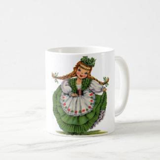 Retro Irish Doll dancer with plaits take a bow Coffee Mug