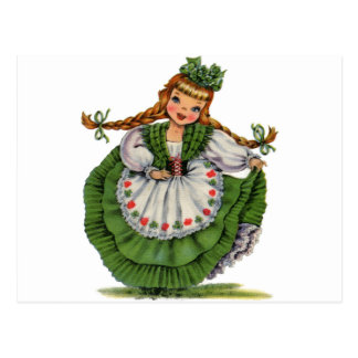 Retro Irish Doll dancer with plaits take a bow Postcard