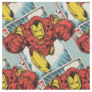 Retro Iron Man Flying Out Of Comic Fabric