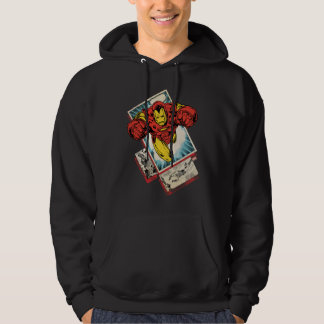 Retro Iron Man Flying Out Of Comic Hoodie