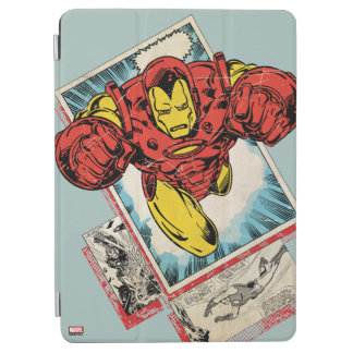 Retro Iron Man Flying Out Of Comic iPad Air Cover