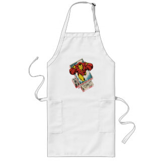 Retro Iron Man Flying Out Of Comic Long Apron