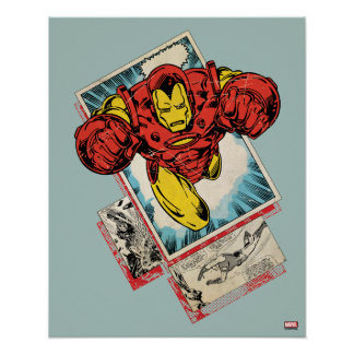 Retro Iron Man Flying Out Of Comic Poster