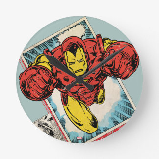 Retro Iron Man Flying Out Of Comic Round Clock