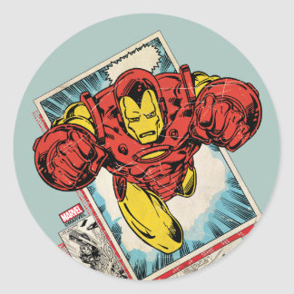 Retro Iron Man Flying Out Of Comic Round Sticker
