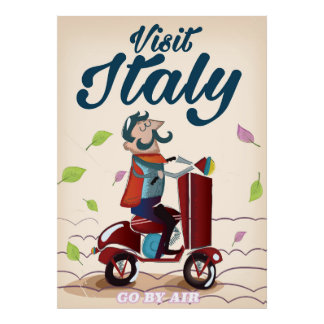 Retro Italian cartoon scooter poster. Poster