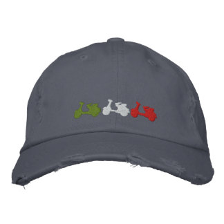 Retro Italian scooter embroidered distressed cap