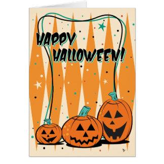 Retro Jack-O-Lantern Trio Halloween Greeting Card
