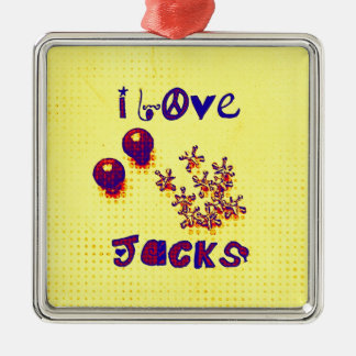 Retro Jacks from 60s 70s Metal Ornament