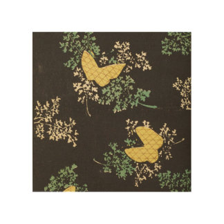 Retro Japanese Butterfly Wood Canvas