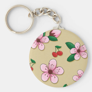 Retro Japanese Cherry Blossom Keycain Key Ring