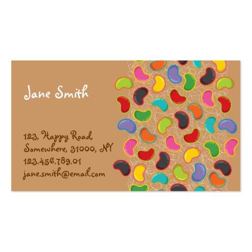 Retro Jellybean Pop Pattern Candy Sweets Cute Fun Business Card Templates