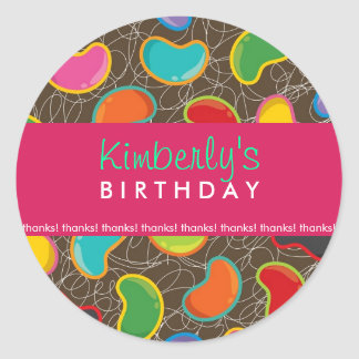 Retro Jellybean Pop Sweet Candy Whimsical Birthday Classic Round Sticker