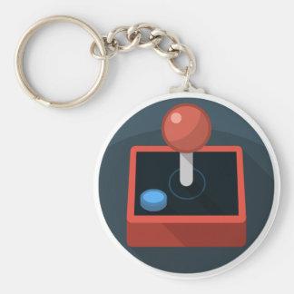 Retro Joystick, 80's style video game joy stick Basic Round Button Key Ring
