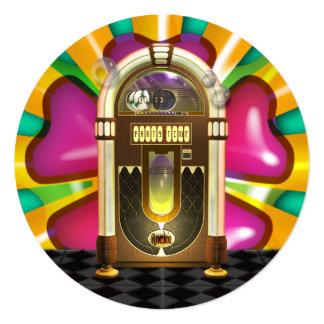 """Retro Jukebox Party Invitations 5.25"""" Square Invitation Card"""